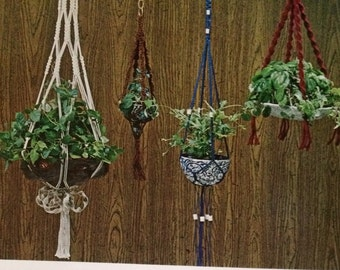 Start small, learn macrame for small plant hangers and specialty pots Knotty pots DIY 1970's instructions and 5 patterns.  Easy macrame