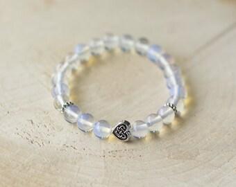 Bracelet for women semi-precious Gemstones - Moon stone - heart