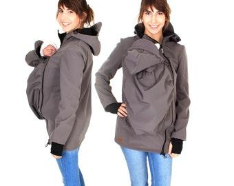 Softshell babywearing jacket, softshell baby carrying coat, carrier jacket, jacket, Baby, maternity, gray. grey, ARIEL