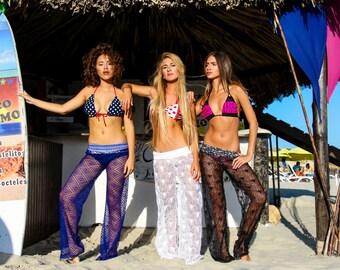 Beach Pants - Boho Pants - Crochet Lace Boho Beach Pants - Yoga Pants - Gypsy pants - Hippie Pants