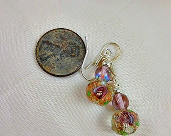 Purple Lavender Green Crystal Beaded Dangle Earrings