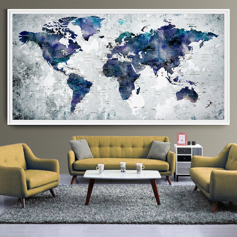 world map art print poster watercolor world map push pin wall. Black Bedroom Furniture Sets. Home Design Ideas