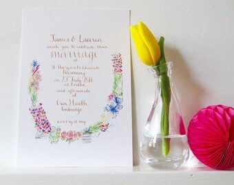 A summer wedding: bespoke, personal, tailor-made wedding invitation - hand-drawn and finished