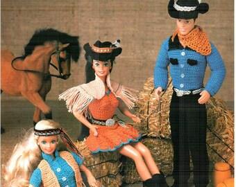 7 Designs! Fashion Doll Western Wear, Crocheted Wild West theme clothes pattern to fit Barbie & Ken! Crochet designs by Juanita Turner.