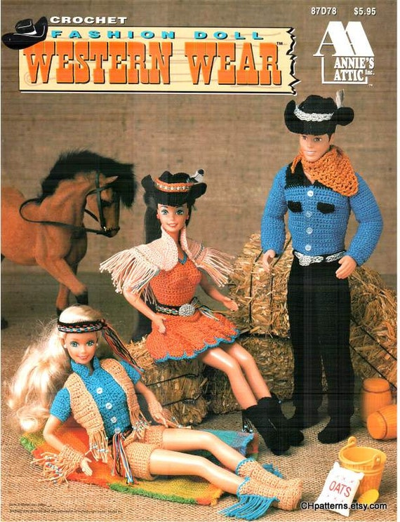 7 Designs Fashion Doll Western Wear Crocheted Wild West