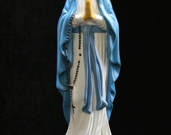 """Our Lady of Lourdes Madonna Virgin Mary Statue Sculpture Religious Made in Italy Religious Catholic 16"""" Tall"""