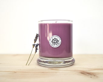 Lavender Candle || Hand Poured || Organic Soy Candle // 9 oz. Glass