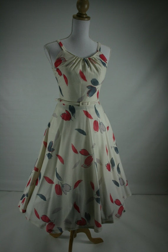 1980s LULU tulip print grey red pink dress 32/23.5/F