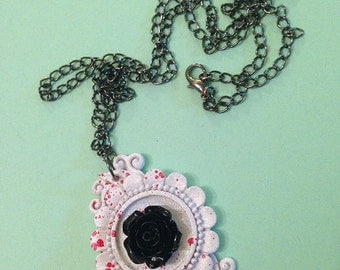Kawaii Goth Pastel Goth Rose Cameo Necklace, White and Black