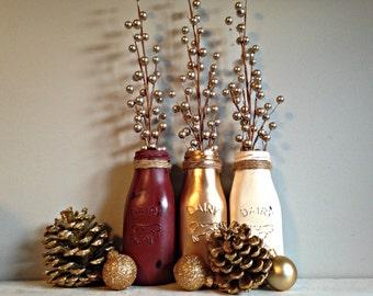 3 Pc Milk Bottle Vase Set- Cream, Wine and Gold Metallic- Xmas Decor