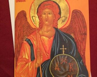 St. MIchael Archangel,icon,Catholic,greeting card,Byzantine,religous,gift,angel