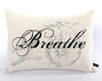Breathe Word pillow cover ornate script 12x16 cotton canvas cushion #221 FlossieandRay