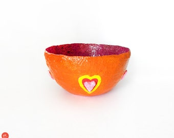 Paper Mache Bowl, Papier Mache Bowl, Small Paper Bowl, Decorative Bowl, Tableware Decor, Paper Mache Sculpture, Orange Bowl, Bowl With Heart