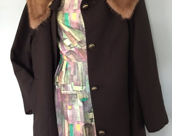 Vintage early 60's Forstmann Swing Coat Chocolate Brown Mink Collar