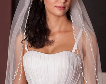 Beaded veil,floor length veil,long veil,2 tier veil,white tulle veil,Wedding Beaded Edge veil,classic veil,full veil,Elegant Wedding Veil