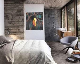 "Yelow Cocoon, original acrylic painting 36"" X 36"" X 1.5"" app"