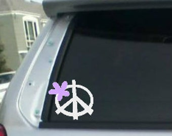 Peace sign, car decal, peace sign with flower, hand peace,  laptop decal, phone decal, wall decal, hand sign decal,