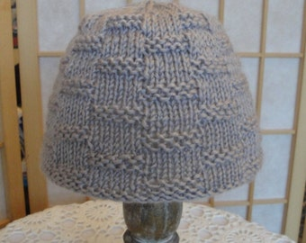 lilac-grey baby hat, knitted toddler cap, gray toddler beanie, acrylic knit baby cap, baby/toddler hat, vegan baby beanie, textured baby hat