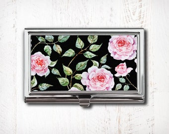 Pink Roses on Black Background Business Card Case - Vintage Floral - Business Card Holder - Metal Card Case - Business Card Wallet