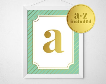 Gold Foil Monogram, 5x7 Printable, Mint and Gold, Mint Wall Art, Wall Prints, Monogram Print, Nursery Art, Nursery Decor, Nursery Poster