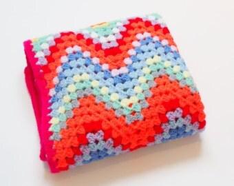 Crochet Bright Baby Blanket, Neon Pink Stripe Baby Blanket, Baby Girl Blanket, Crochet Baby Afghan, Car Seat Blanket, Stroller Blanket