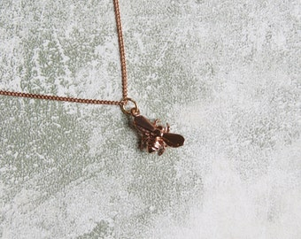 """Dainty Minimalist Rose Gold Bumblebee Pendant with Extra Fine Rose Gold 16"""" Chain"""