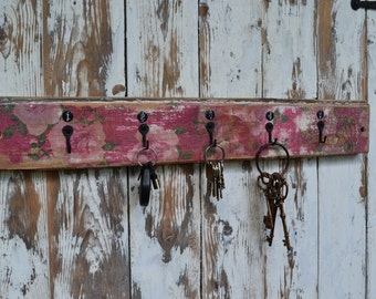 "Vintage Style Hooks / 24"" Long/Farmhouse  Style / 5 Mini Wrought Iron Hooks / Mounted on Upcycled Wainscotting with Wallpaper Design"