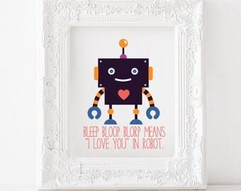 Robot print, Robot printable, Robot decor, Robot art, Robot nursery print Robot kids room print,I love you in robot print, i love you robot
