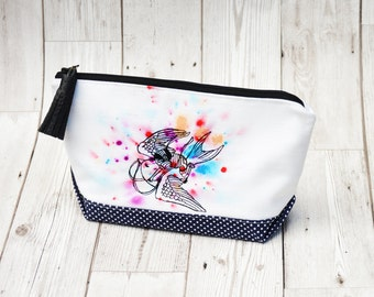 Embroidered makeup bag zipper pouch, Large Cosmetic bag, Personalized Make up bag handmade handbag, Fabric bag makeup storage travel pouch