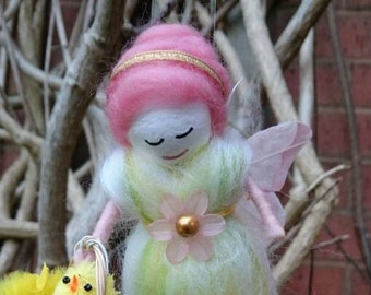 Hand Crafted Wool Felt Fairy.  Ostara Faerie