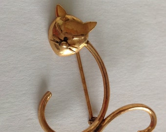 Vintage cat solid gold pin - cat brooch - 10ct gold