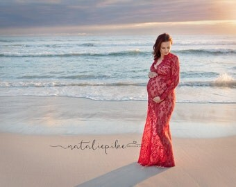 Maternity Dress - Victoria - Scarlett Red - XS to XXL (Petite to Plus) - Lace - Full Sleeve - Full Length