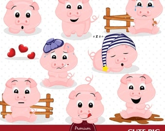 Pig clipart, Piggy clipart, Farm animals clipart, Piggy stickers, Commercial use - CA422