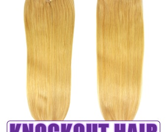 "Fits like a Halo Hair Extensions 20"" Honey Blonde (#22) - Human No Clip In Flip In Couture by Knockout Hair"