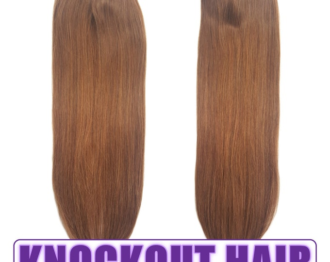 "Fits like a Halo Hair Extensions 20"" Light Warm Brown (#6) - Human No Clip In Flip In Couture by Knockout Hair"