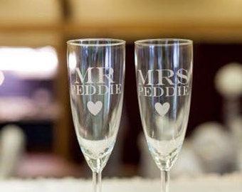 Etched Wedding Champagne Flutes