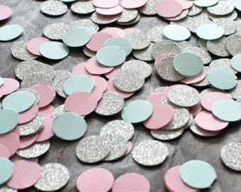 Paper Confetti, 200pc 3/4'' Mint Pink Silver Confetti, circle confetti, wedding decor, table decor