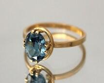 Topaz ring gold, Blue topaz ring, Gemstone ring, Topaz ring, Birthstone ring, Oval stone ring, December birthstone