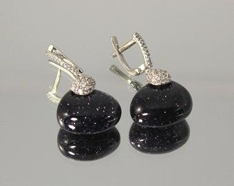 Fashion silver earrings, Dangle earrings,Unique earrings, Aventurine earrings, Blue aventurine, Gemstone earrings, Sparkle earrings