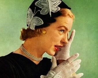 Crochet pdf pattern-Crochet Butterfly Cloche Hat Gloves Pattern of 1950s