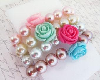 rose beaded bracelet ivory bracelet elastic pearl bracelet rose bead bracelet bridesmaid stretch bracelet rose bracelet pearl bracelet