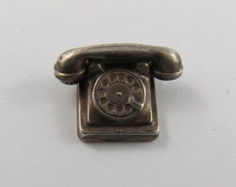 Old Rotary Dial Telephone Sterling Silver Charm or Pendant.