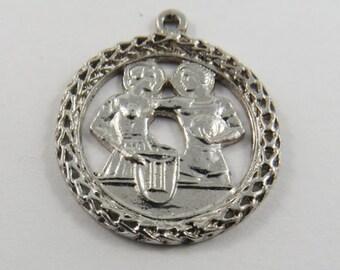 Zodiac Gemini Twins Sterling Silver Charm or Pendant.
