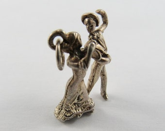 Couple Doing the Tango Dance Sterling Silver Charm or Pendant.