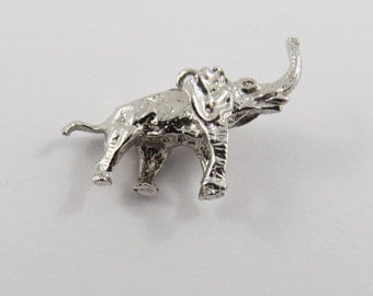 Elephant Sterling Silver Charm or Pendant.