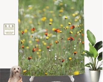 Blooming Summer Field,Shower Curtain,GreenOrange,Floral,BathCurtain,Bathroom Decor,Accessories,Bathroom Art,Designer Curtain,Interior Design