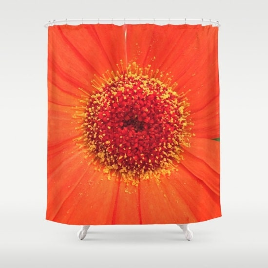 Flower Orange Shower Curtain Floral Curtain Bath Curtain
