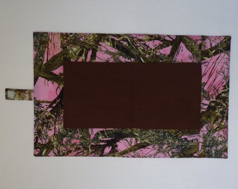 Travel baby diaper changing pad, waterproof, folding changing mat, Pink Tru Timber MC2 print Camo fabric