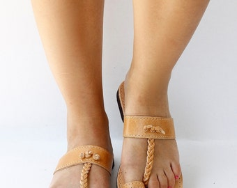 Women Natural Tanned Leather Sandals, Women Greek leather sandals