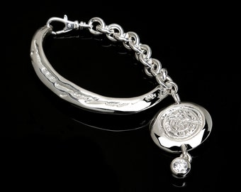 Solid Sterling Silver Bracelet/Coin Charm/CZ's/Script Writing/Large Link Chain.